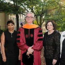 USC alumna and donors Darla Moore and Marva Smalls stand with new McNair Center director Zafer Gurdal, McNair Center donor Anita Zuker and Cheryl McNair, who was married Ronald E. McNair, the astronaut and South Carolina native for whom the center was named.