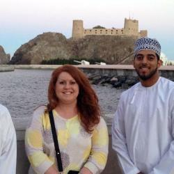 International Student Services director Jody Pritt traveled to Oman during winter break. While there, she visited with UofSC alumni Ali Al-Rashdi (left) and Mazin Almasrouri.