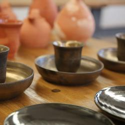 Scotchie and Kinard created pottery with a metallic glaze and a terra cotta style for the soon-to-be-shot Fox TV series Hieroglyph.
