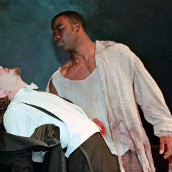 "Mike Colter performs on the stage in a UofSC production of ""Frankenstein"" in 1997."