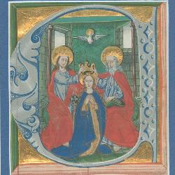 This miniature of the Coronation of the Virgin was cut from a large-format choirbook, produced in southern Germany circa 1480. (Image courtesy of the Irvin Department of Rare Books and Special Collections, University of South Carolina Libraries, Columbia, S.C.)