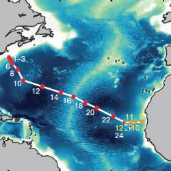 The high-resolution transect of the north Atlantic is the first to establish sources of trace iron in seawater. [Image: Nature Publishing Group]