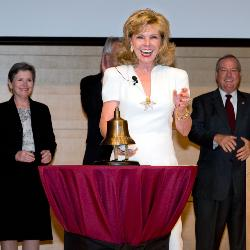 Darla Moore rings the opening bell, signifying the official opening of the new Darla Moore School of Business.