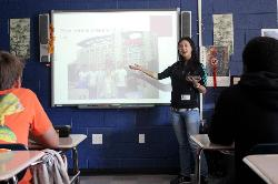 Ruby Han, a freshman business student from China, enjoys sharing her home country with American students.