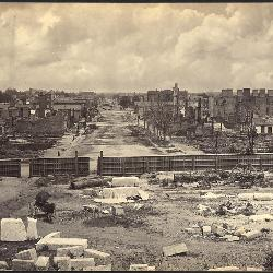 Photographer George N. Barnard captured the desolation of Columbia's Richardson (Main) Street shortly after the city's burning in February 1865. (Image courtesy National Archives and Records Administration)