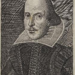 The First Folio includes this 1623 engraving of Shakespeare by Martin Droeshout.