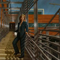 The 14-by-8-foot oil painting of financier and philanthropist Darla Moore shows Moore on the stairs in the courtyard of the Darla Moore School of Business during its construction.
