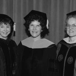 Linda Morphis (center) was the first graduate of the nursing doctorate program. She is seen here in this 2001 photo with then-Nursing dean Mary Ann Parsons (left) and faculty member Judy Alexander.