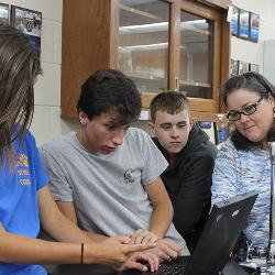 Joni Jordan, far right, is a fellow in the new USC-SMTL program and teaches at Edisto High School in Orangeburg, S.C.