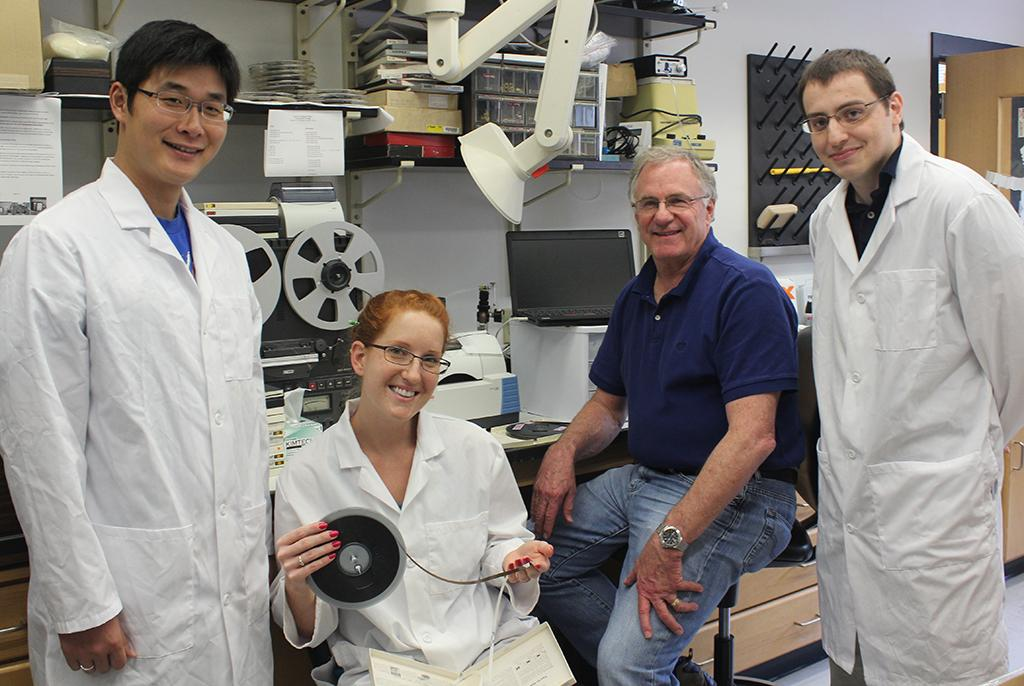The research team includes (from left) graduate students Zhenyu Lu and Brianna Cassidy, professor Steve Morgan, and graduate student Nathan Fuenffinger.