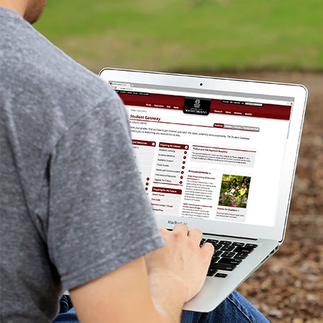 student gateway on a laptop