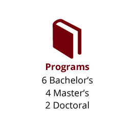 Infographic: Programs: 6 Bachelor's, 4 Master's and 2 Doctoral