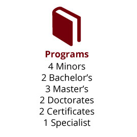 Infographic: Programs: 4 Minors, 2 Bachelor's, 3 Master's, 2 Doctorates, 2 Certificates, 1 Specialist