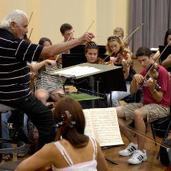 UofSC music professor Donald Portnoy leads a rehearsal of the USC Symphony Orchestra.