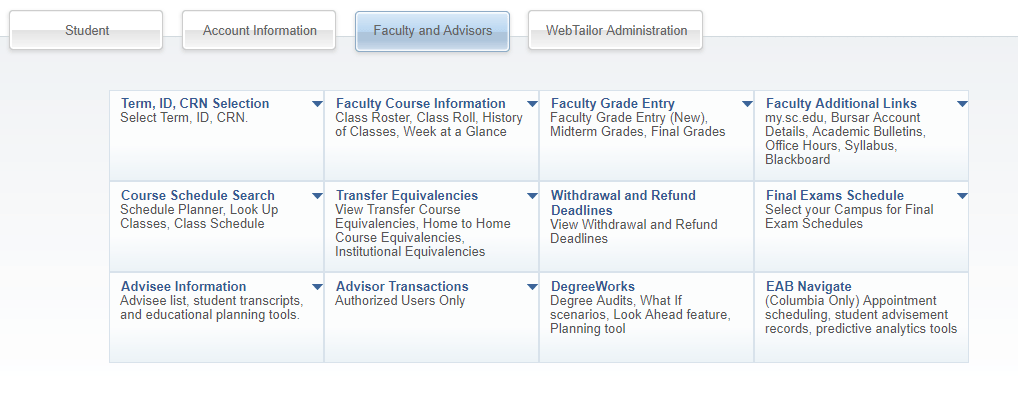 screenshot of faculty and advisors section of ssc