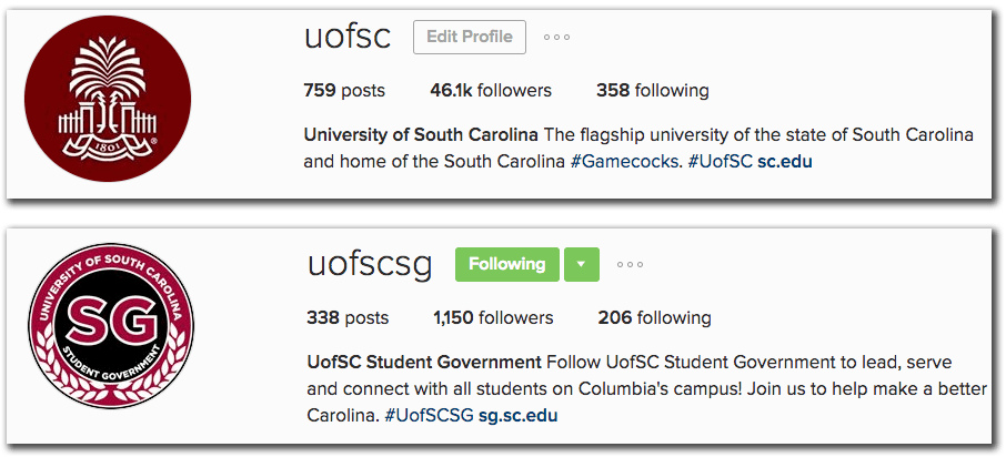 Bio communications and public affairs university of south carolina both of these profile descriptions set expectations about the type of content that will appear both units also include a unit level hashtag and link to solutioingenieria Gallery
