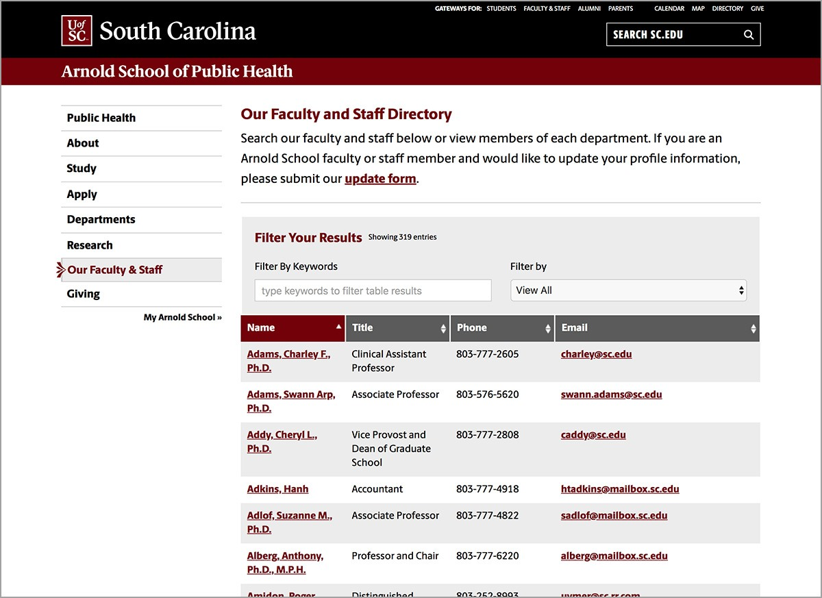 Directory Page Example