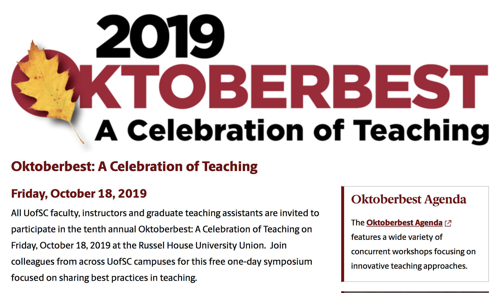 "A banner with the text ""Oktoberbest 2019"" and the subtext ""A Celebration of Teaching"" is followed by a heading that includes that text and subtext, as well as a paragraph that lists the full title of the event, the date, and other relevant information, making the image decorative."