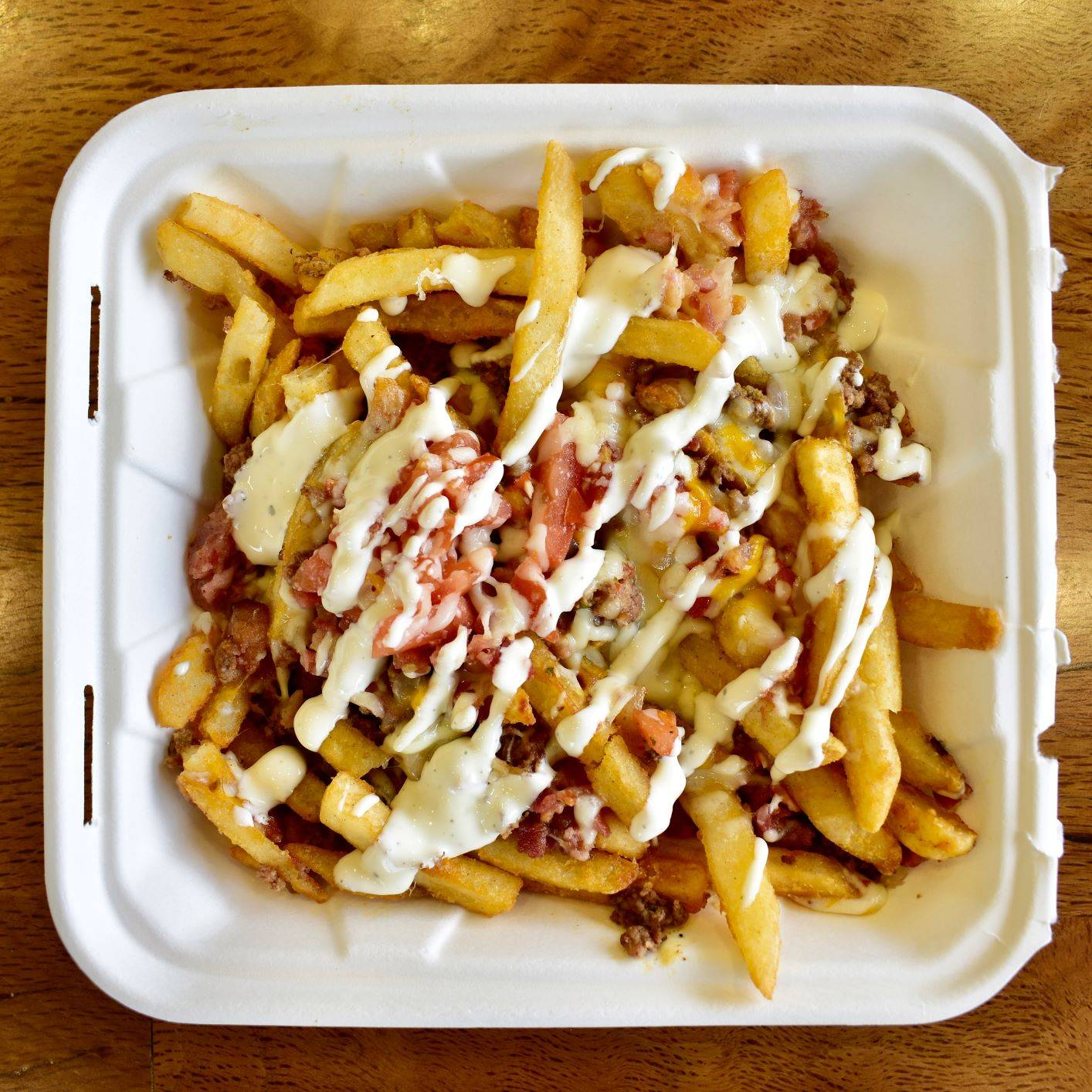 french fries with bacon crumbles and ranch dressing