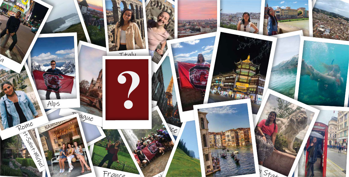 multiple pictures of different students abroad