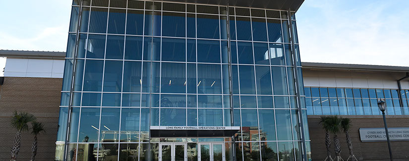 Long Family Football Operations Center glass front doors