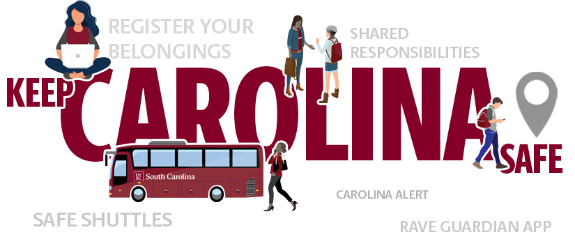 Keep Carolina Safe text with a graphic cartoon of student studying, walking while talking on a cell phone, and students talking with each other.  Text representing Carolina Alert, RAVE guardian app, shared responsibilities, register your belongings and safe shuttles are scattered throughout the page.