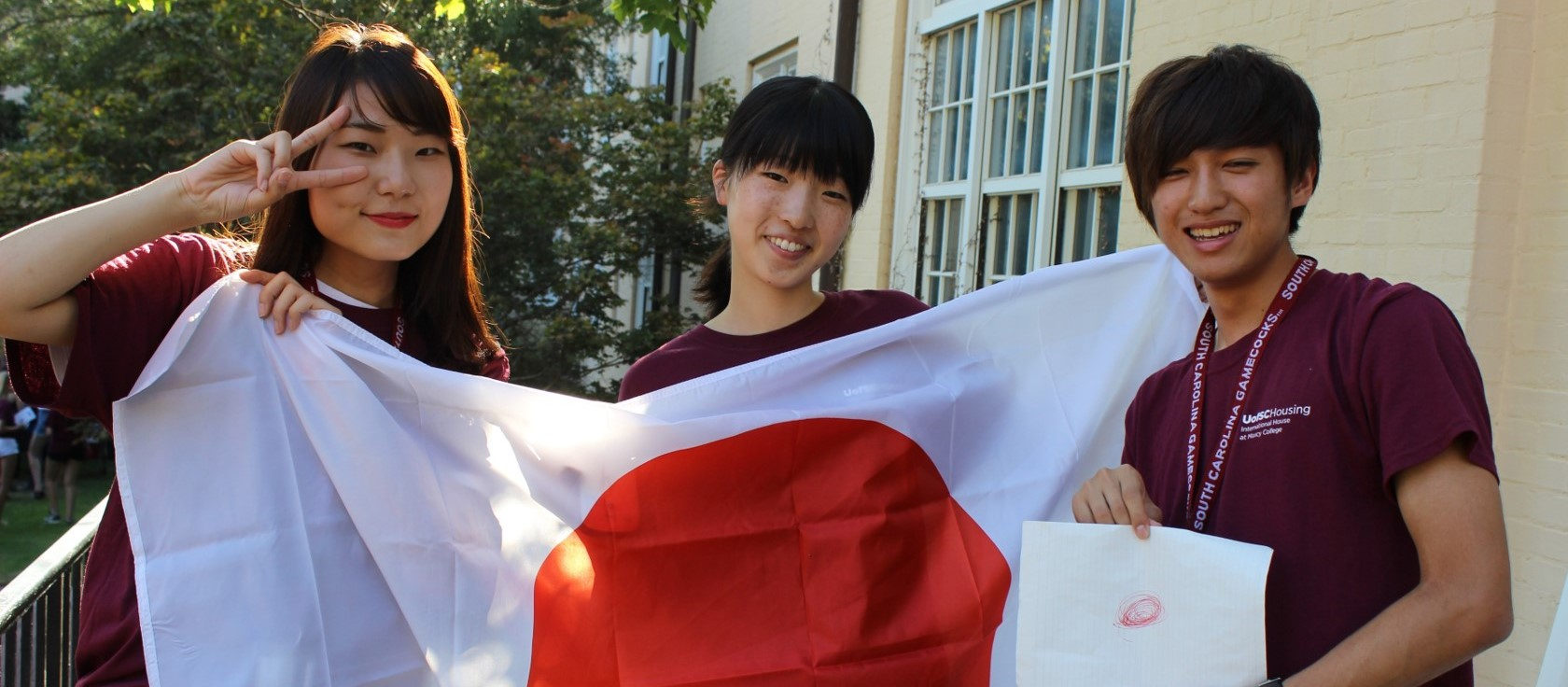 Japanese students with their flag