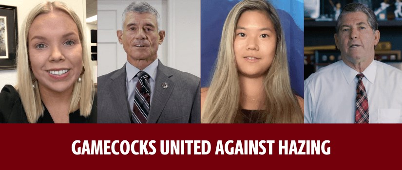 "Four faces featured in the embedded video are framed above bold text that reads: ""Gamecocks United against Hazing"" in all caps."