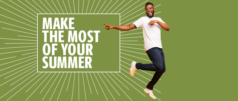 Graphic announcing Summer Semester 2020 classes are 100% online, showing a student dancing on a green background as he points to a white square outlined with a starburst effect featuring white text that reads: Make the most of your summer.