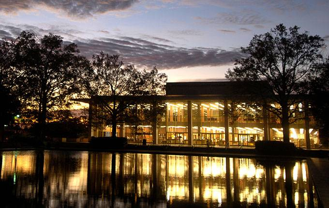 Thomas Cooper Library at sunrise.