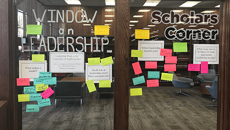Window of Leadership with post it notes that describe leadership