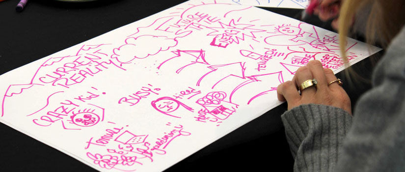 Creative drawing in pink marker