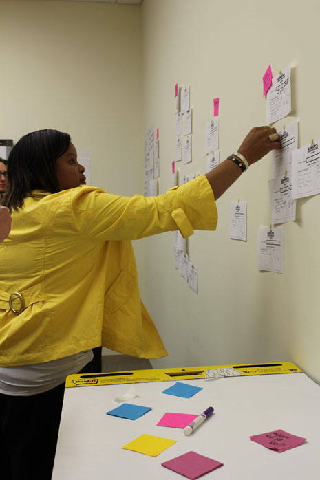 Participant places sticky note on a wall of notes