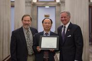 Dr. Chuanbing Tang, Associate Professor of Chemistry and College of Arts and Sciences Distinguished Professor in the Department of Chemistry and Biochemistry receives the Young Scientist Award.