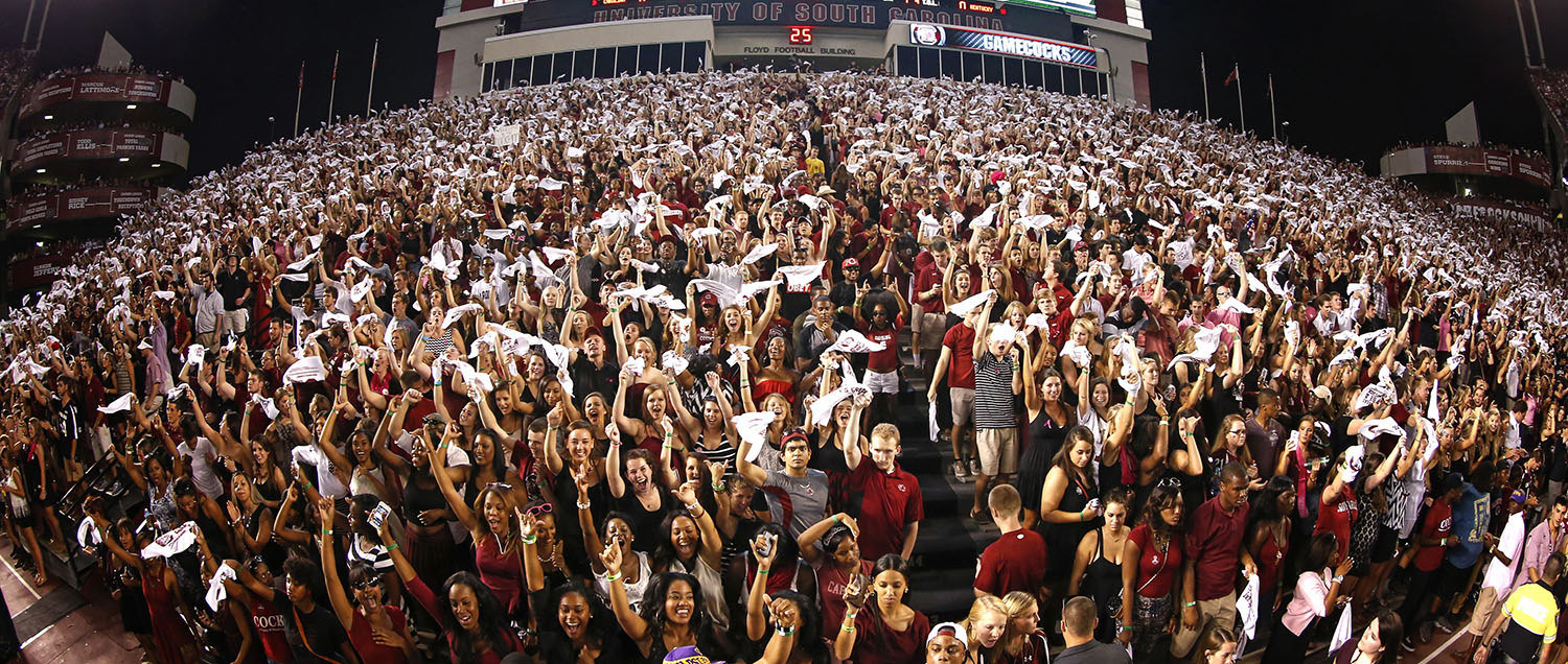 the student section at Williams-Brice stadium during a night game