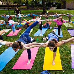 students doing yoga outside