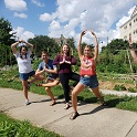 students doing yoga in the Sustainable Carolina Garden