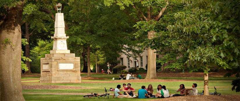 Students relaxing on USC Columbia Horseshoe