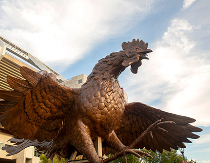 Bronze Gamecock with its wings outstreatched in front of Williams-Brice Stadium.