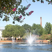 Fountain in a reflecting pool surrounded by flowering trees on a beautiful sunny day with the USC smokestack in the background.