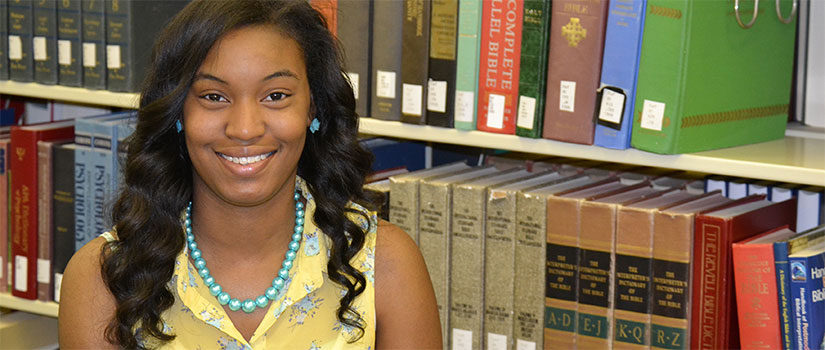 Student visits USC Salkehatchie Library