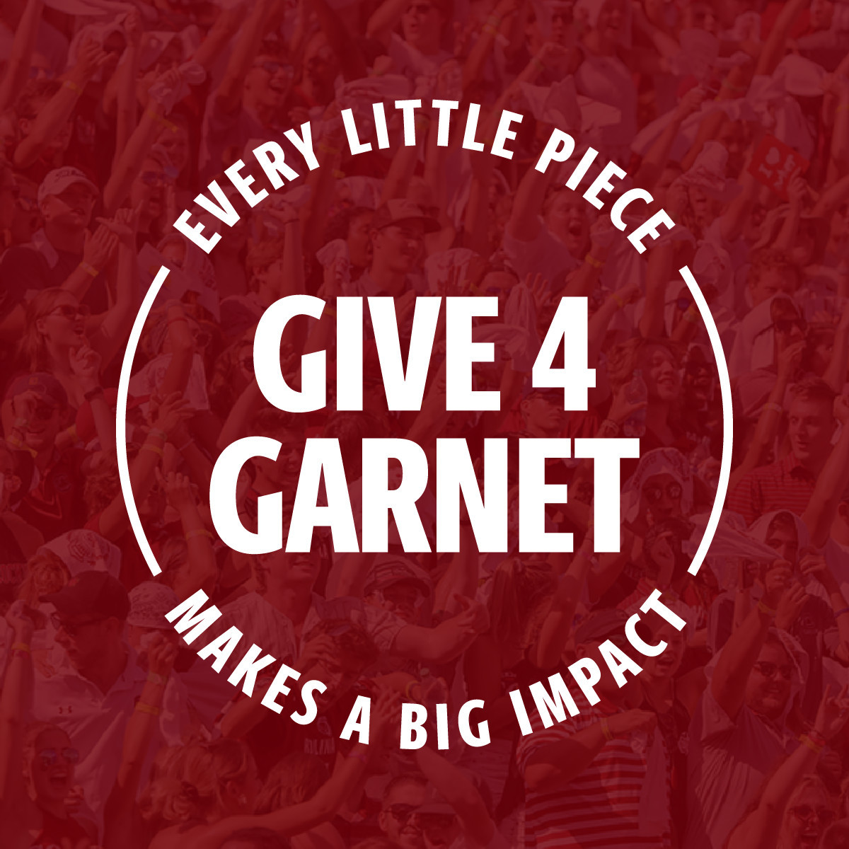 Crowd cheering with a garnet colored overlay and the UofSC stamp over it with the text Give4Garnet, every little piece makes a big impact.