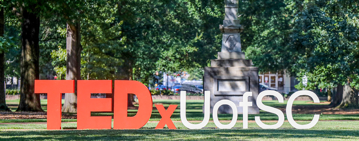 TedxUofSC large letters sitting on the bricks of the historic horseshoe.