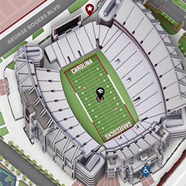 Ariel 3d rendering of Williams-Brice Stadium form the campus map.