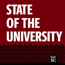 Garnet background with white text that says: State of the University with Bob Caslen Podcast