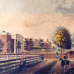 illustration of the historic horseshoe from 1850 with brick buildings and wall infront of a green space lined with palmetto trees.