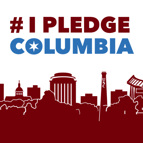 #IPledgeColumbia logo with Columbia city skyline