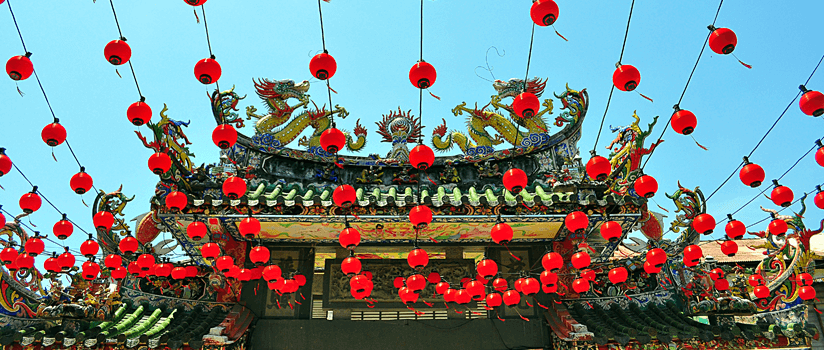 Chinese lanterns hanging in front of temple