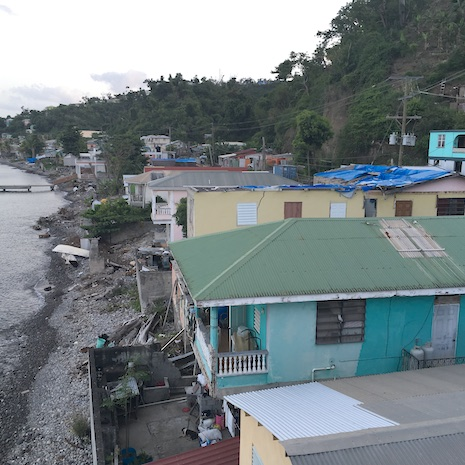 Damaged roofs still visibile on Dominica, summer 2018