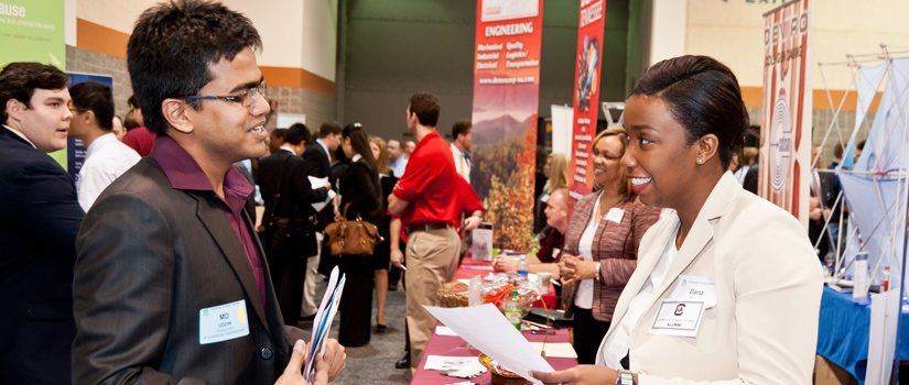Students take part in a career fair.